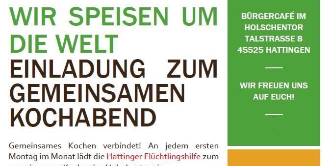 """Gemeinsames Kochen und Essen im Rahmen der """"Partnerschaft für Demokratie"""" – Hattingen (06.11.17) :-)"""
