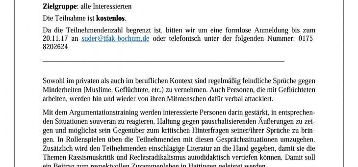 Argumentationstraining gegen rassistische und rechte Stammtischparolen (23.11.17)