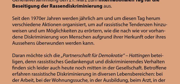 Internationale Wochen gegen Rassismus (12.03.-24.03.) in Hattingen