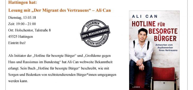 "Lesung mit ""Der Migrant des Vertrauens"" – Ali Can (13.03.18)."