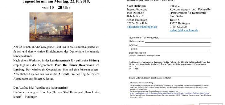 Ausflug nach Düsseldorf (22.10.18), Anmeldung bis 12.10.18