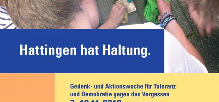 Hattingen hat Haltung. Gedenk- und Aktionswoche für Toleranz und Demokratie gegen das Vergessen 07.11 – 18.11.2018