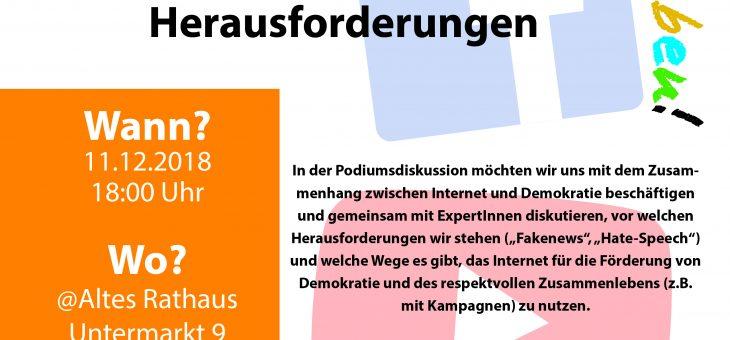 """*Podiumsdiskussion """"Internet und Demokratie""""*, 11. Dezember, 18h im Alten Rathaus"""