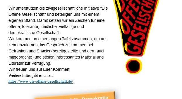 """Herzliche Einladung zum """"Tag-der-offenen-Gesellschaft"""" am Samstag, 15. Juni 2019 in der Zeit von 11.00 – 14.00 Uhr auf dem Hans-Schalla-Platz, in Bochum (direkt vor dem Schauspielhaus)."""
