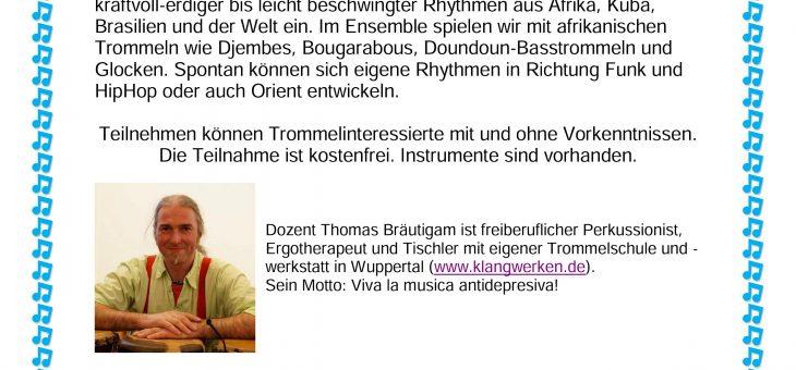 Musik Ohne Grenzen -Drumcircle Workshop; Integrationsagentur Hattingen/Jüdische Gemeinde Bochum-Hattingen-Herne/ Ikumutah Musikprojekt