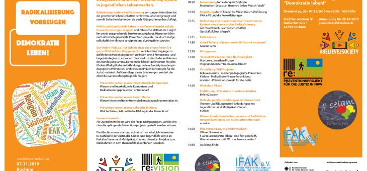 """""""Radikalisierung vorbeugen – Demokratie leben!"""", Veranstaltung in Bochum 07.11.19"""
