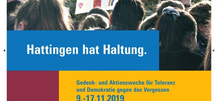 Gedenk- und Aktionswoche für Toleranz und Demokratie gegen das Vergessen, 09.-17.11.2019