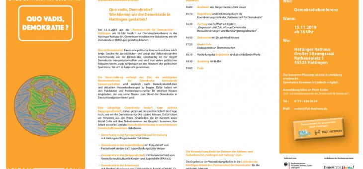 """Demokratiekonferenz """"Quo vadis, Demokratie?"""", 15.11.19"""