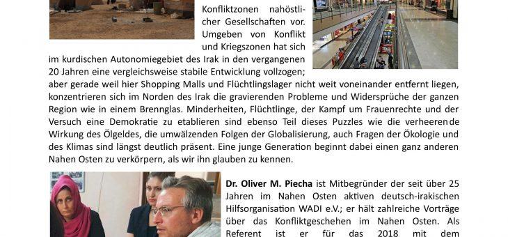 Spannender Vortrag diesen Donnerstag (27.02.2020) um 19 Uhr:  Zwischen Shopping Malls und Flüchtlingslagern – Innenansichten aus einem unbekannten Kosmos namens Naher Osten. Dr. Oliver Piecha – Vortrag mit Diskussion